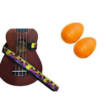 Custom Deluxe Ukulele Strap - Palm Trees Strap w/Bonus Pair of Rhythm Egg Shakers - Orange