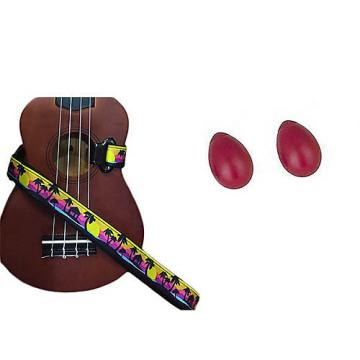 Custom Deluxe Ukulele Strap - Palm Trees Strap w/Bonus Pair of Rhythm Egg Shakers - Red