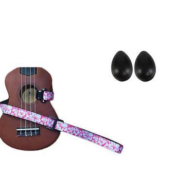 Custom Deluxe Ukulele Strap - Hawaiian Flower Pink w/Bonus Pair of Rhythm Egg Shakers - Black