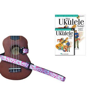 Custom Deluxe Ukulele Strap - Hawaiian Flower Pink w/Bonus Play Ukulele Today Book CD DVD Pack