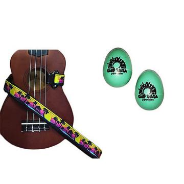 Custom Deluxe Ukulele Strap - Palm Trees Strap w/Bonus Pair of Rhythm Egg Shakers - Green