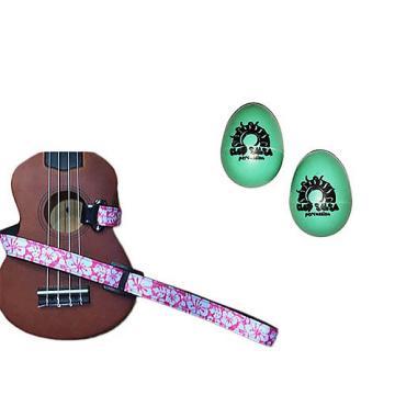 Custom Deluxe Ukulele Strap - Hawaiian Flower Pink w/Bonus Pair of Rhythm Egg Shakers - Green