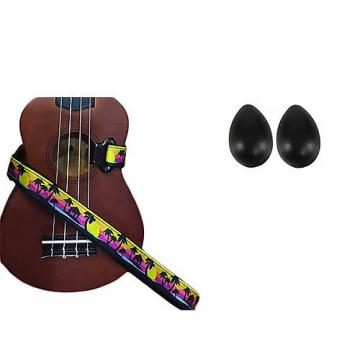 Custom Deluxe Ukulele Strap - Palm Trees Strap w/Bonus Pair of Rhythm Egg Shakers - Black