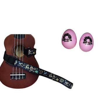 Custom Deluxe Ukulele Strap - Hawaiian Surfer Strap w/Bonus Pair of Rhythm Egg Shakers - Pink