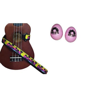 Custom Deluxe Ukulele Strap - Palm Trees Strap w/Bonus Pair of Rhythm Egg Shakers - Pink