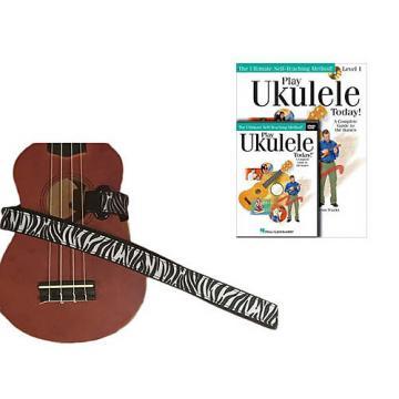 Custom Deluxe Ukulele Strap - White Zebra Strap w/Bonus Play Ukulele Today Book CD DVD Pack