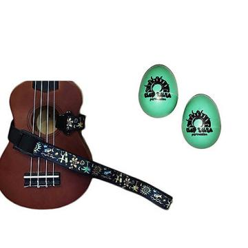 Custom Deluxe Ukulele Strap - Hawaiian Surfer Strap w/Bonus Pair of Rhythm Egg Shakers - Green