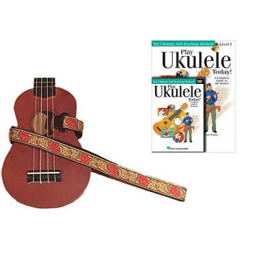 Custom Deluxe Ukulele Strap - Desert Rose Red Strap w/Bonus Play Ukulele Today Book CD DVD Pack