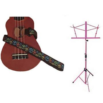 Custom Deluxe Ukulele Strap - Peace Sign Neon Strap w/Pink Collapsible Music Stand