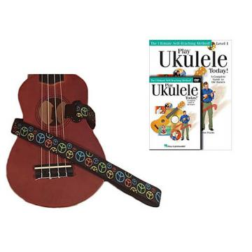 Custom Deluxe Ukulele Strap - Peace Sign Neon Strap w/Bonus Play Ukulele Today Book CD DVD Pack