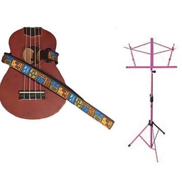Custom Deluxe Ukulele Strap - Tiki Hawaiian Strap w/Pink Collapsible Music Stand