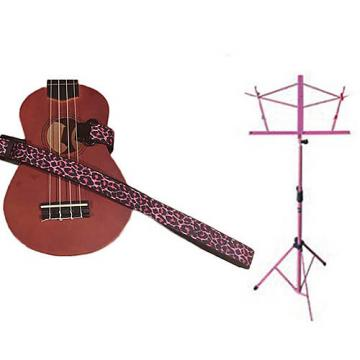 Custom Deluxe Ukulele Strap - Pink Leopard Strap w/Pink Collapsible Music Stand