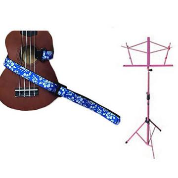 Custom Deluxe Ukulele Strap - Hawaiian Flower Blue w/Pink Collapsible Music Stand
