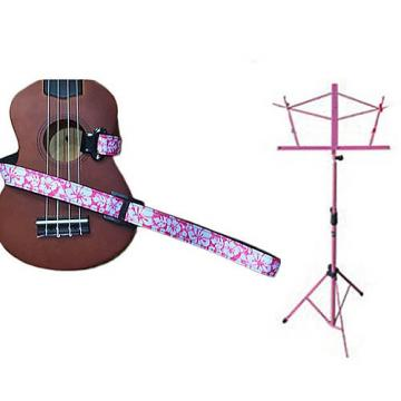 Custom Deluxe Ukulele Strap - Hawaiian Flower Pink w/Pink Collapsible Music Stand