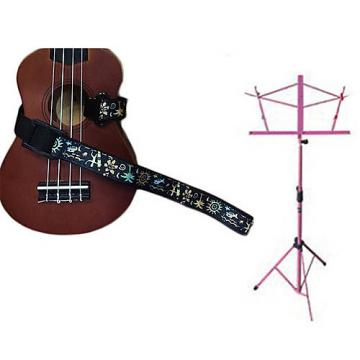 Custom Deluxe Ukulele Strap - Hawaiian Surfer Strap w/Pink Collapsible Music Stand