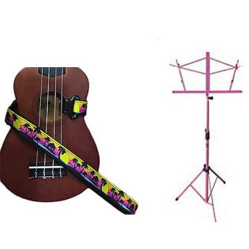 Custom Deluxe Ukulele Strap - Palm Trees Strap w/Pink Collapsible Music Stand