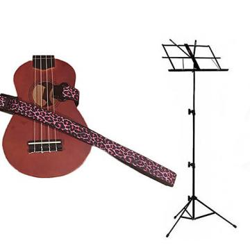 Custom Deluxe Ukulele Strap - Pink Leopard Strap w/Black Collapsible Music Stand