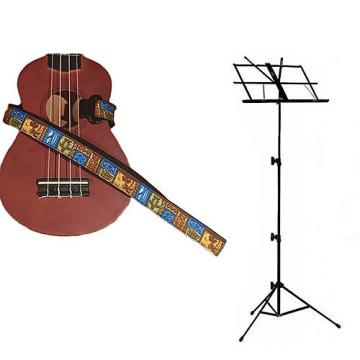 Custom Deluxe Ukulele Strap - Tiki Hawaiian Strap w/Black Collapsible Music Stand