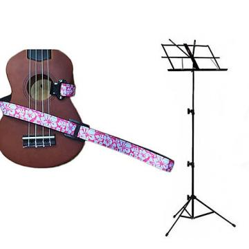 Custom Deluxe Ukulele Strap - Hawaiian Flower Pink w/Black Collapsible Music Stand