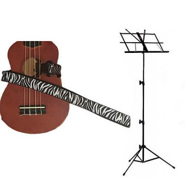 Custom Deluxe Ukulele Strap - White Zebra Strap w/Black Collapsible Music Stand