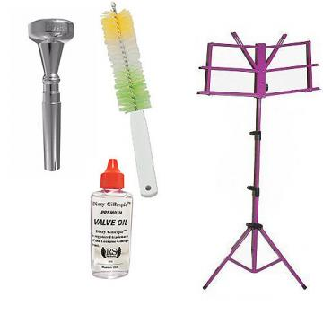 Custom Dizzy Gillespie Trumpet Mouthpiece w/Trumpet Valve Oil & Valve Casing Brush + Purple Music Stand