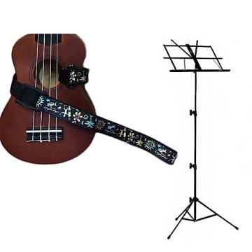 Custom Deluxe Ukulele Strap - Hawaiian Surfer Strap w/Black Collapsible Music Stand