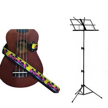 Custom Deluxe Ukulele Strap - Palm Trees Strap w/Black Collapsible Music Stand