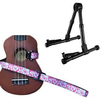 Custom Deluxe Ukulele Strap - Hawaiian Flower Pink w/Meisel GS76 Stand Black
