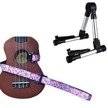 Custom Deluxe Ukulele Strap - Hawaiian Flower Pink w/Meisel GS76 Stand Silver