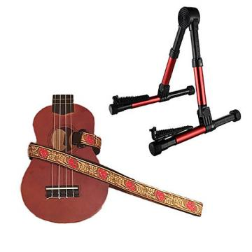 Custom Deluxe Ukulele Strap - Desert Rose Red Strap w/Meisel GS76 Stand Metallic Red