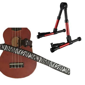 Custom Deluxe Ukulele Strap - White Zebra Strap w/Meisel GS76 Stand Metallic Red