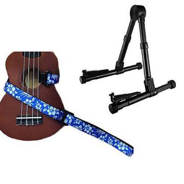 Custom Deluxe Ukulele Strap - Hawaiian Flower Blue w/Meisel GS76 Stand Black