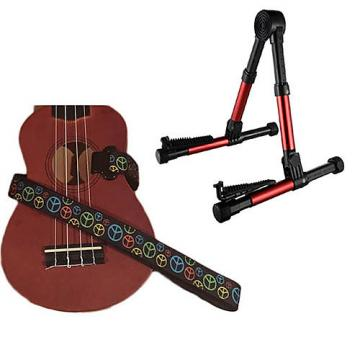 Custom Deluxe Ukulele Strap - Peace Sign Neon Strap w/Meisel GS76 Stand Metallic Red