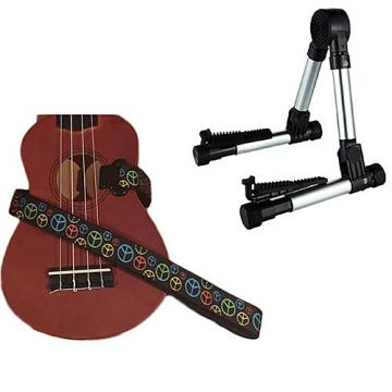 Custom Deluxe Ukulele Strap - Peace Sign Neon Strap w/Meisel GS76 Stand Silver