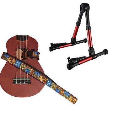 Custom Deluxe Ukulele Strap - Tiki Hawaiian Strap w/Meisel GS76 Stand Metallic Red