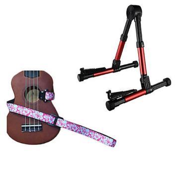 Custom Deluxe Ukulele Strap - Hawaiian Flower Pink w/Meisel GS76 Stand Metallic Red