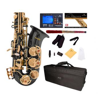 Custom Mendini by Cecilio Eb Alto Sax w/Tuner, Case, Mouthpiece, 10 Reeds, Pocketbook and 1 Year Warranty,