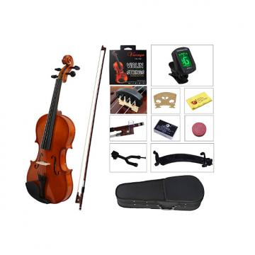 Custom YMC Full Size 4/4 Violin Starter Kit with Hard Case,Bow,Rosin,Extra Strings,Shoulder Rest,Mute,Elect