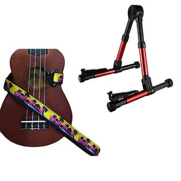 Custom Deluxe Ukulele Strap - Palm Trees Strap w/Meisel GS76 Stand Metallic Red
