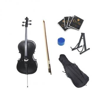 Custom Cecilio CCO-Black Student Cello with Soft Case, Stand, Bow, Rosin, Bridge and Extra Set of Strings,
