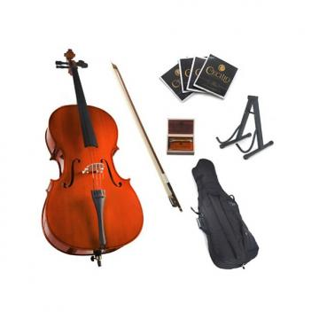 Custom Cecilio CCO-100 Student Cello with Soft Case, Stand, Bow, Rosin, Bridge and Extra Set of Strings, Si