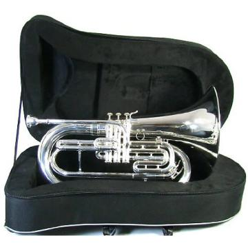 Custom Blessing BM-301 Silver Marching Bb Baritone Silver; Free Shipping