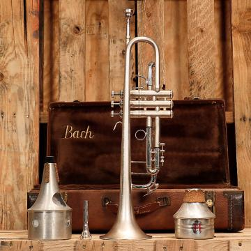 Custom Bach Stradivarius Model 37 ML Trumpet Outfit Refin. Modded Leadpipe OHSC 1985 Brushed Nickel