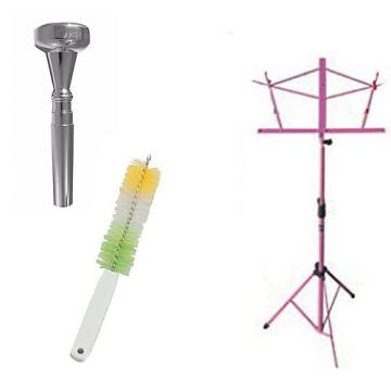 Custom Dizzy Gillespie Trumpet Mouthpiece w/Trumpet Valve Casing Brush + Pink Music Stand