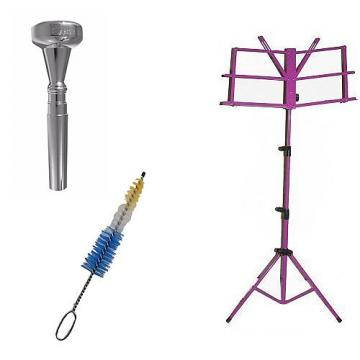 Custom Dizzy Gillespie Trumpet Mouthpiece w/Trumpet Mouthpiece Cleaning Brush + Purple Music Stand