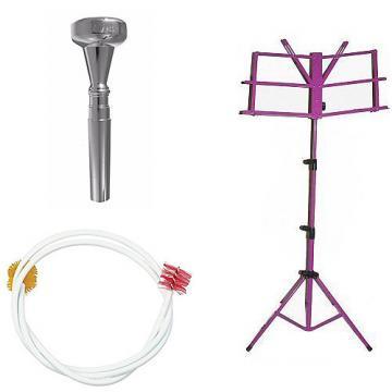 Custom Dizzy Gillespie Trumpet Mouthpiece w/Trumpet Snake + Purple Music Stand