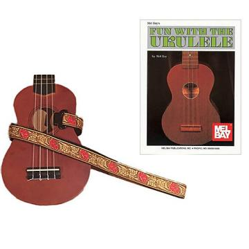 Custom Masterstraps Desert Rose Red Ukulele Strap Pack w/Bonus Ukulele Book Fun With The Ukulele