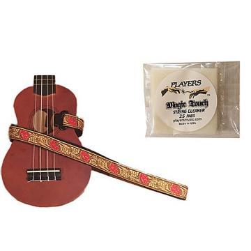 Custom Masterstraps Desert Rose Red Ukulele Strap Pack w/Bonus Ukulele String Cleaning Wipes