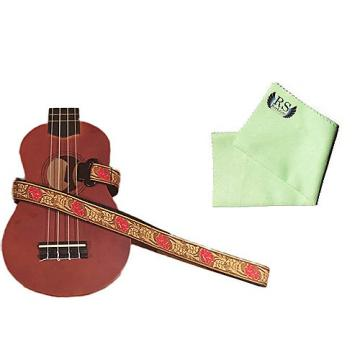 Custom Masterstraps Desert Rose Red Ukulele Strap Pack w/Bonus Ukulele Cleaning Cloth