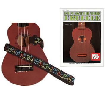 Custom Masterstraps Peace Sign Neon Ukulele Strap Pack w/Bonus Ukulele Book Fun With The Ukulele